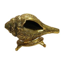 AJN-109 Brass Shankh with Holder