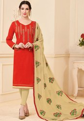Flame Red Banglori Slub Suit With Embroidered Dupatta