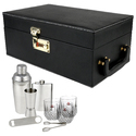 Portable Leatherette Cocktail Bar Set - 03