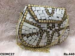 and CS International golden and White mosaic clutch