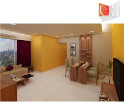 Living Room Interior Design Cheeky Yellow Series, Maharashtra