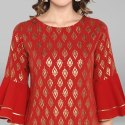 Red Poly Crepe Kurta(JNE3432)