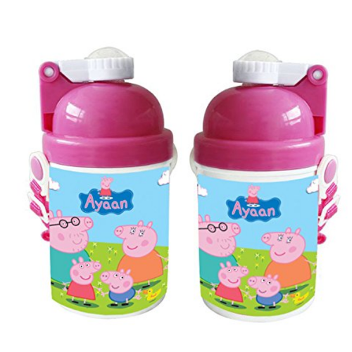 Peppa Pig Happy Birthday Gift Kids Water Bottle Sipper With Name Customized