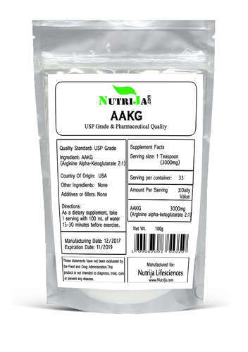 Nutrija Arginine Alpha Ketoglutarate Packaging Size 100 Grams