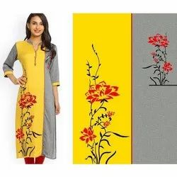 3/4 Sleeve Digital Printed Crepe Kurti
