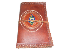 Designer Leather Binding Journal with Stone