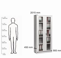 4 Shelves Glass Swing Door Cupboard