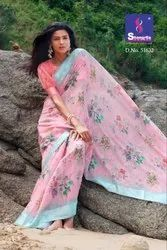 Shangrila -Kanchana-21 Fancy Linen Cotton With Printed Sarees