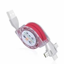 3 In 1 Retractable USB Charging And Data Cable(Red), For Mobile Phone