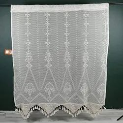 Chiffon White Embroidered Knitted Curtain, Size: 5-6 Meter