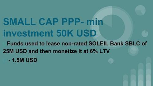 Soleil Chartered Bank Sblc Monetization-Net 6%Non-Recourse