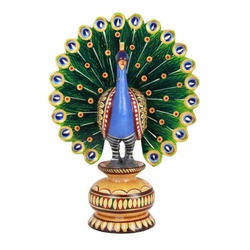 Decorative Wooden Peacock Statue