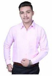 Plain Men Solid Formal Pink Shirt, Wash Care: Machine Wash