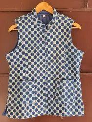 Blue Block Print Cotton Handmade Jacket