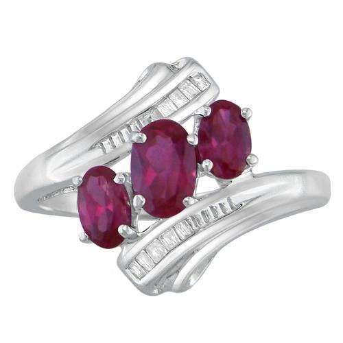 Three Ruby Silver Ring