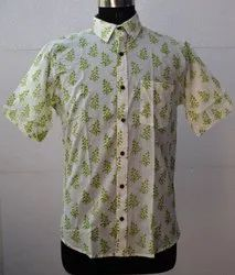 Hand Block Print Cotton Shirt Mens Printed Shirt