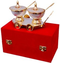 Wedding Gift Gold Plated Brass Trolley Set