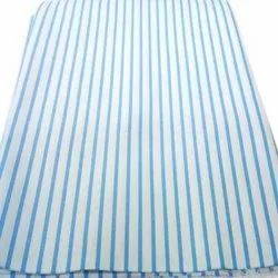 58-60 White With Blue Strip Cotton Striped Shirting Fabric, For Shirts, GSM: 120