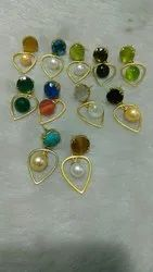 Colour Stone Stud Earrings