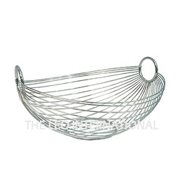 METAL SILVER Decorative Steel Wire Storage Basket, Size: Standard , for DECOR