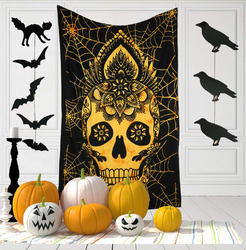 Indian Printed Decorative Wall Hanging Skull Tapestry