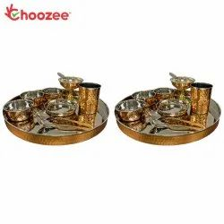 Choozee - Copper Thali Set of 2 (20 Pcs) of Thali, Bowl, Spoon, Glass and Ice-Cream Cup