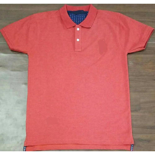 Mens Cotton Red Polo Collar T Shirt