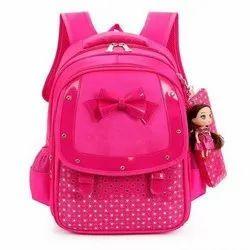 Plain Polyester Pink Girls School Bag