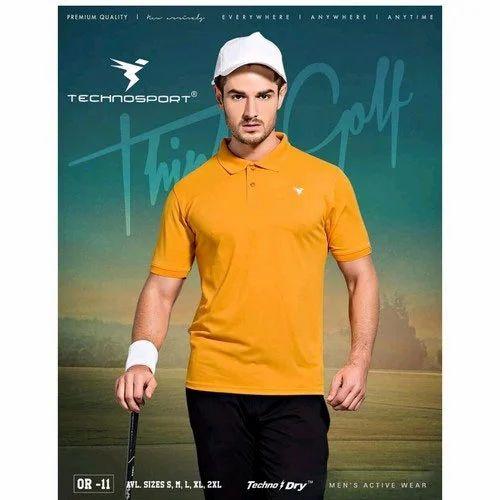 4a1e3e33bcf Technosport Mustard Yellow Mens Polo Neck Half Sleeves T-Shirt, Rs ...