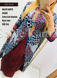 NV 2080 Attached Rayon Inner Cotton Kurti