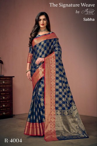 ced37739e5 Bridal wear Embroidered Woman Fancy Cotton Silk Sarees, Machine Made,  Packaging Type: Plastic