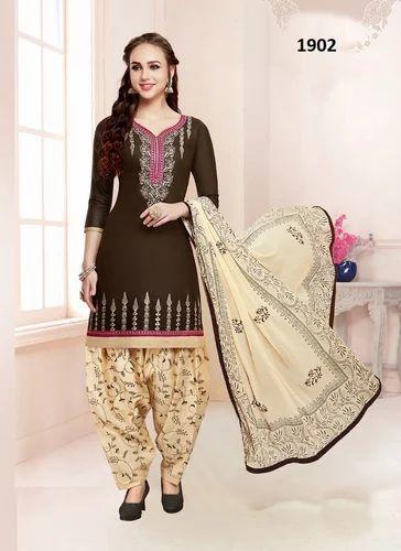 6c6bb18041 Unstitched Cotton Satin Embroidered Punjabi Salwar Kameez, Rs 1253 ...