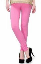 Pink Ladies Cotton Leggings, Casual Wear, Slim Fit