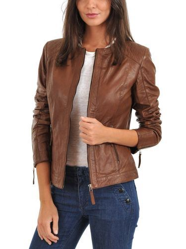 58c61ee2903 Women s Pure Leather Brown Jacket at Rs 3300  piece