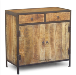 Wooden Mango Wood Rustic Industrial Chick Storage With Drawer Sideboard