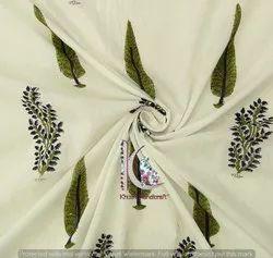 Leaf And Floral Hand Block Print Jaipuri Cotton Fabric