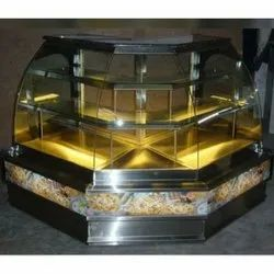 Curved SS Glass Display Counter