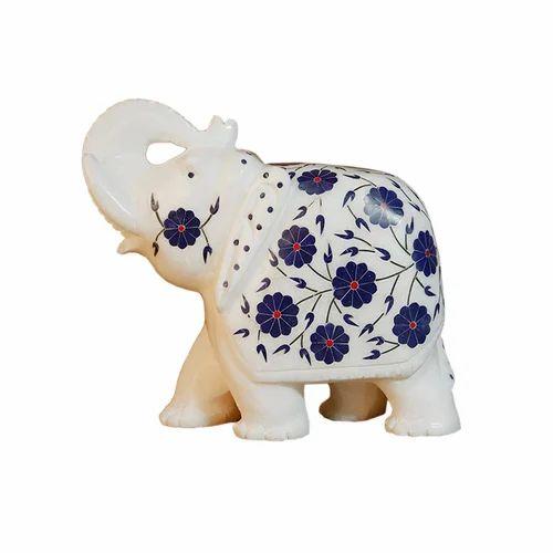 Handmade White Marble Elephant Figurine, Size/Dimension: N / A