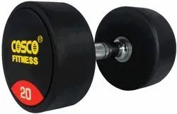 Black Fixed Weight 20kg Cosco Rubberised Round Dumbbells