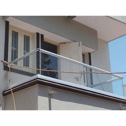 Silver Residential Aluminum Glass Balcony Grills, For Home