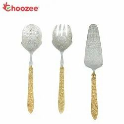 Choozee - 2 Tone Silver/Gold Plated Serving Cutlery Set for Gifting