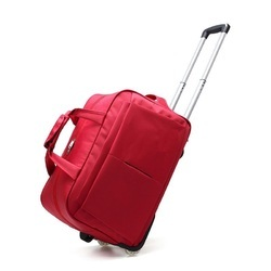 Red Polyester Luggage Trolley Bag