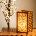 Led Brown Exclusivelane Teak Wood Warli Hand Painted Table Lamp For Home
