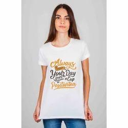 Cotton Half Sleeve Ladies Printed T Shirt, Size: S to XXL