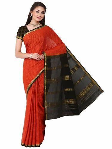 d1e59f661d Wedding Wear Plain Kaushika 100% Pure Crepe Mysore Traditional Silk Saree,  6.3 M (