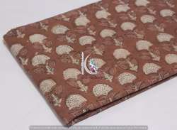 Brown Floral Bagru Dabu Hand Block Print Fabric