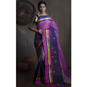 Bengal Handloom Cotton Saree in Purple and Blue