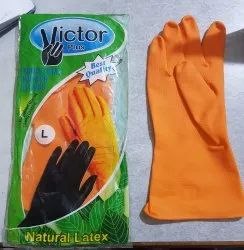 Victore Orange Rubber Hand Gloves