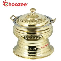 Brass Round Chafing Dish (Capacity 6 LTS)