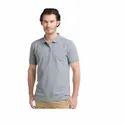 Cotton Plain Mens Grey Collar T Shirt